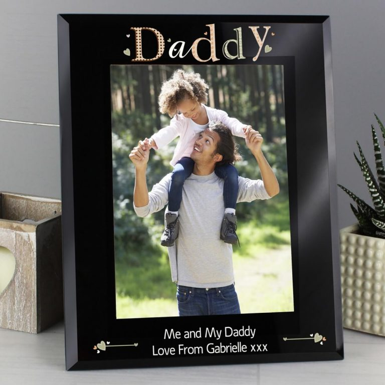 Personalised Daddy Black Glass 5×7 Photo Frame