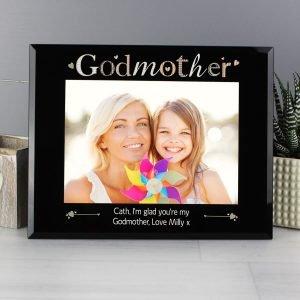 Personalised Godmother Black Glass 7×5 Photo Frame