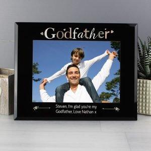 Personalised Godfather Black Glass 7×5 Photo Frame