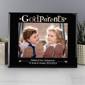 Personalised Godparents Black Glass 7×5 Photo Frame