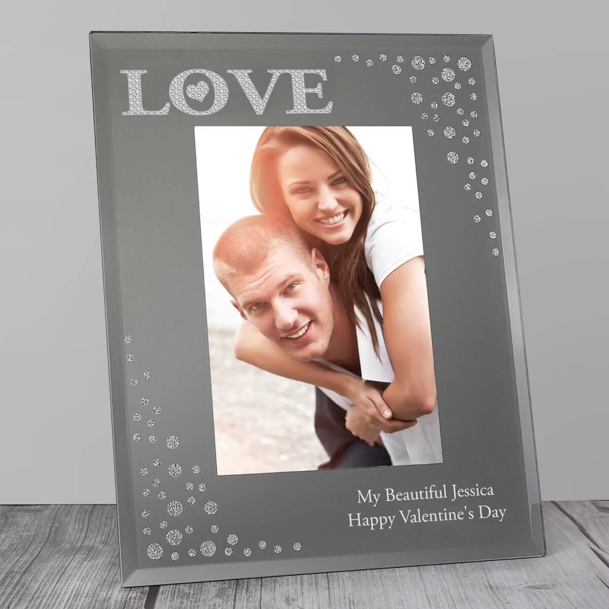 Personalised LOVE 6×4 Diamante Glass Photo Frame