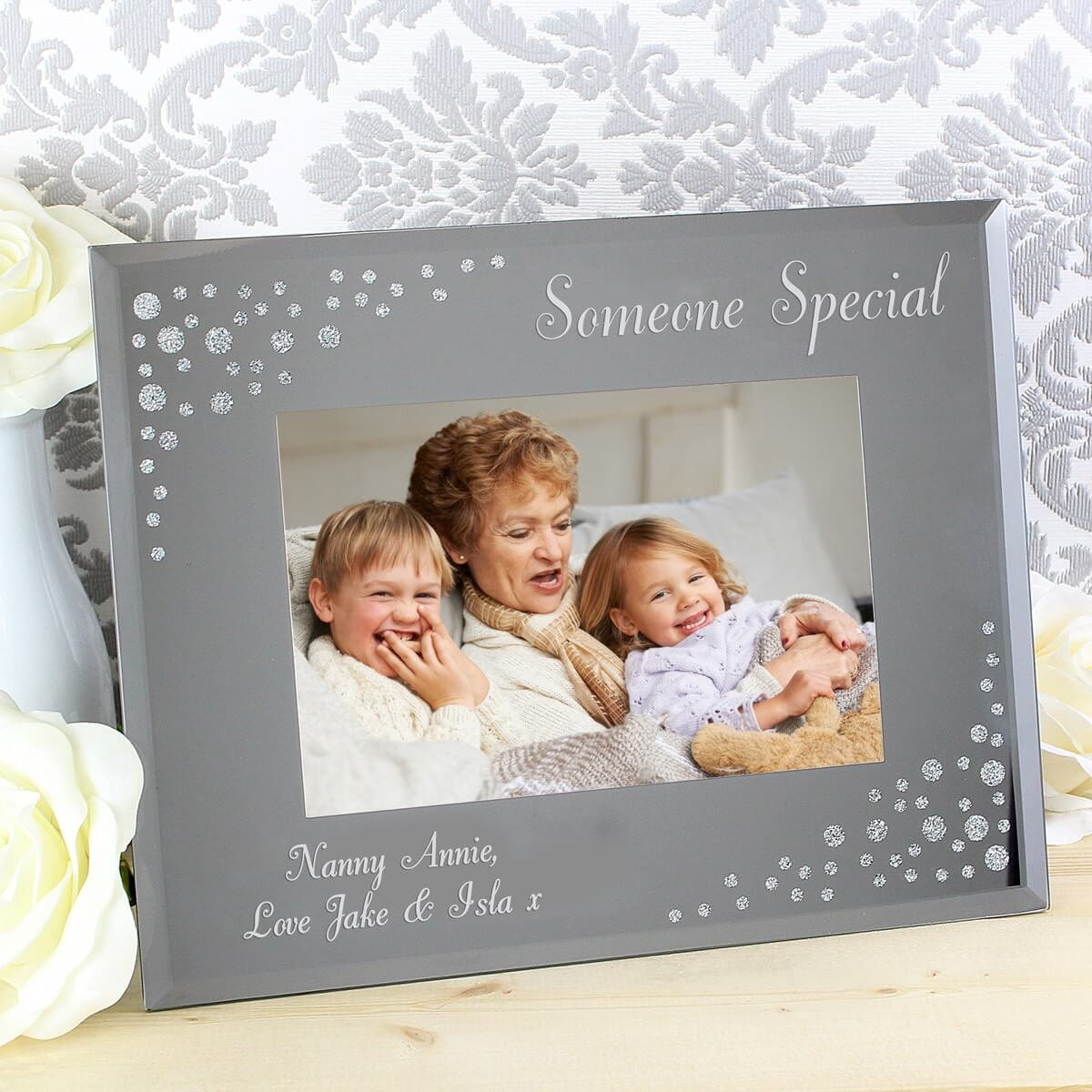 Personalised Any Message 6×4 Landscape Diamante Glass Photo Frame