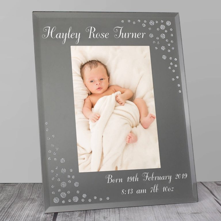 Personalised Any Message 6×4 Diamante Glass Photo Frame