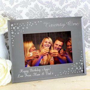 Personalised Twenty One Diamante 6×4 Glass Photo Frame