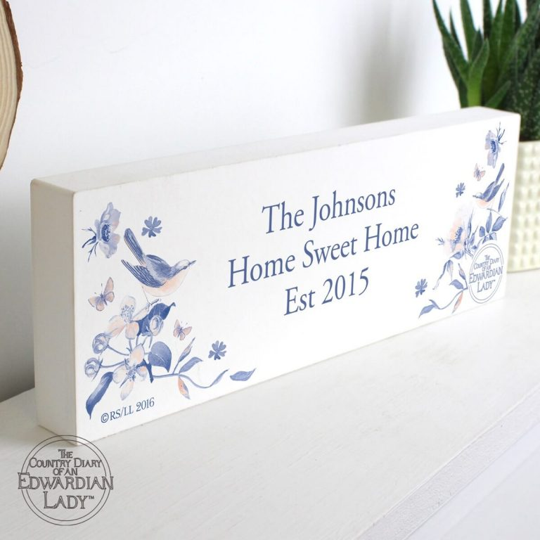Personalised Country Diary Blue Blossom Wooden Block Sign