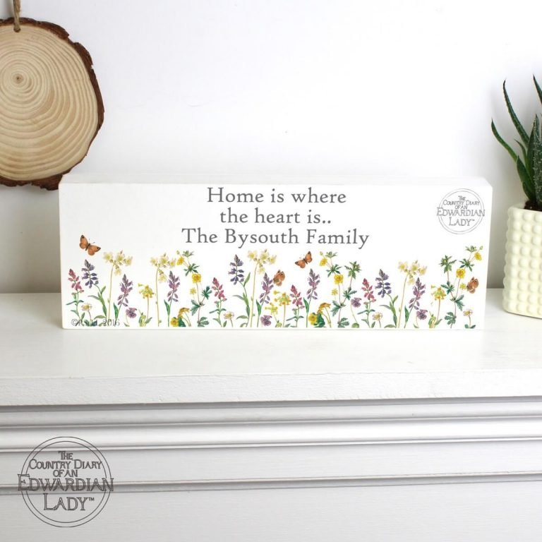 Personalised Country Diary Wild Flowers Wooden Block Sign
