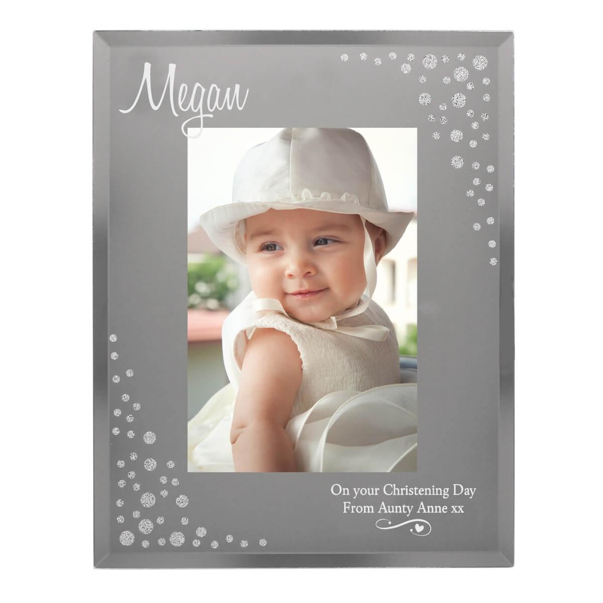Personalised Swirls & Hearts Diamante 6×4 Glass Photo Frame