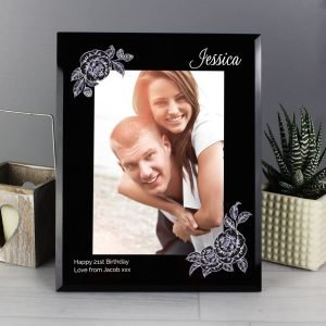 Personalised Rose Sketch 7×5 Black Glass Photo Frame