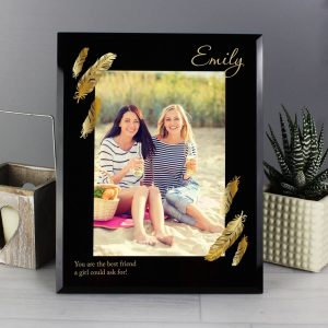 Personalised Golden Feather 7×5 Black Glass Photo Frame