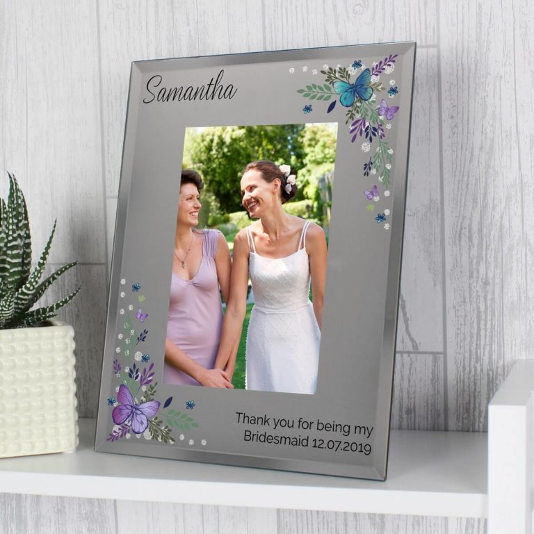 Personalised Butterfly 6×4 Diamante Glass Photo Frame