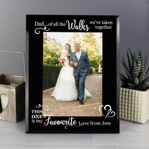 Personalised Of All the Walks… Wedding 7×5 Black Glass Photo Frame