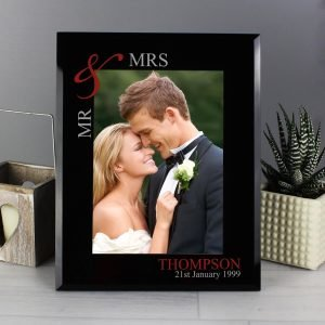 Personalised Ruby Couples 7×5 Black Glass Photo Frame