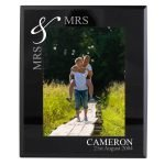 Personalised Silver Couples 7×5 Black Glass Photo Frame