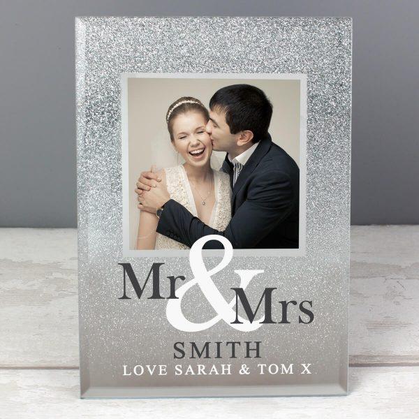 Personalised Mr & Mrs 4×4 Glitter Glass Photo Frame