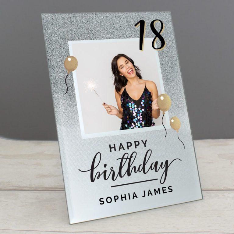 Personalised Birthday 4×4 Glitter Glass Photo Frame