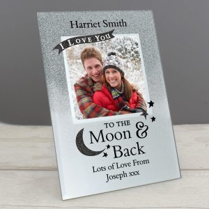 Personalised To the Moon and Back 4×4 Glitter Glass Photo Frame