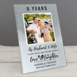 Personalised Anniversary 4×4 Glitter Glass Photo Frame