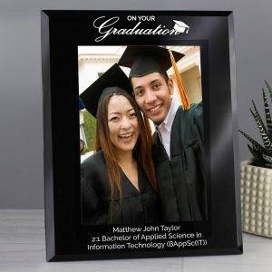 Personalised Graduation Black Glass 7×5 Photo Frame