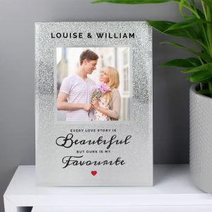 Personalised Every Love Story Is Beautiful 4×4 Glitter Glass Photo Frame