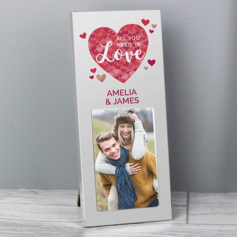 Personalised 'All You Need is Love' Confetti Hearts 3×2 Photo Frame