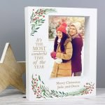 Personalised 'Wonderful Time of The Year Christmas' 7×5 Box Photo Frame