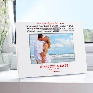 Personalised We Go Together Like…. White 6×4 Photo Frame