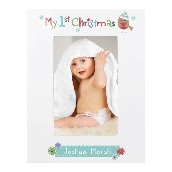 Personalised Felt Stitch Robin My 1st Christmas 6×4 White Wooden Photo Frame