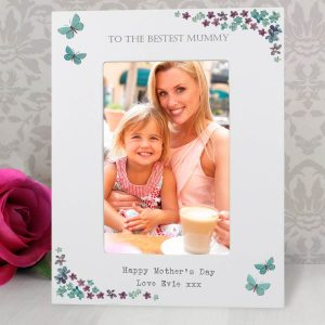 Personalised Forget Me Not 6×4 White Wooden Photo Frame