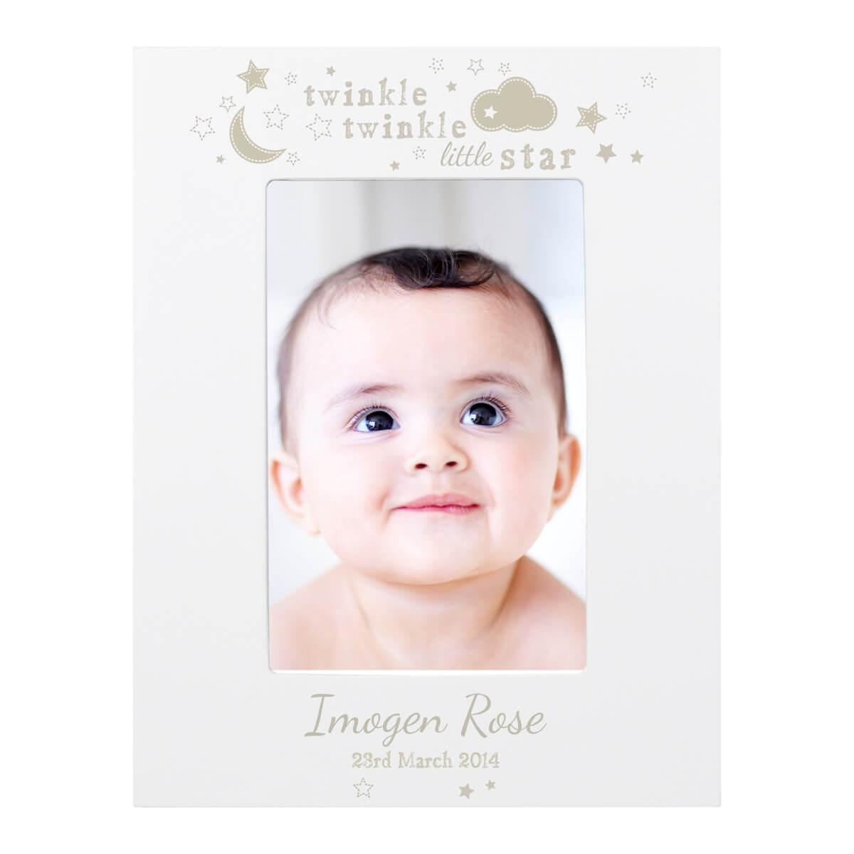 Personalised Twinkle Twinkle 6×4 White Wooden Frame