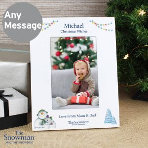 Personalised The Snowman and the Snowdog White 6×4 Photo Frame