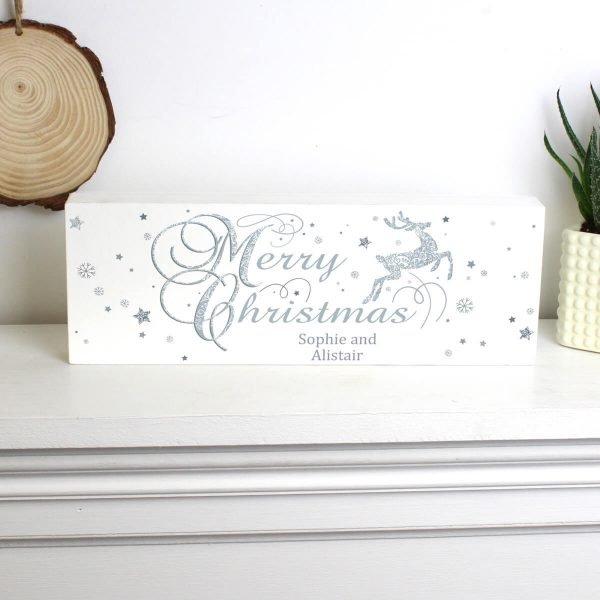 Personalised Silver Reindeer Wooden Block Sign