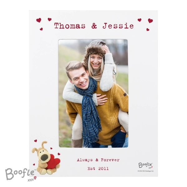 Personalised Boofle Shared Heart White 6×4 Photo Frame
