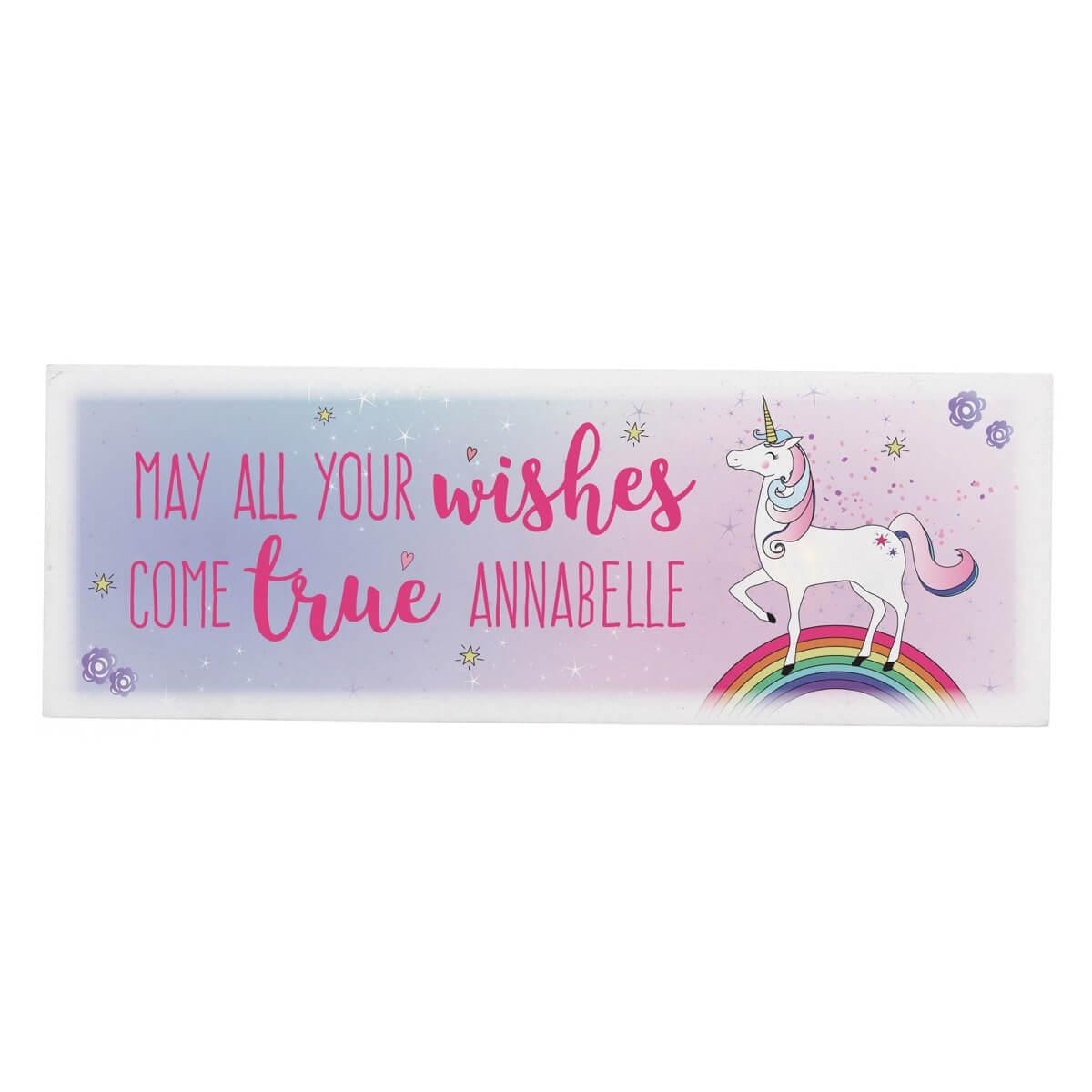 Personalised Unicorn Wooden Block Sign