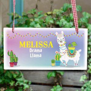 Personalised Llama Wooden Sign