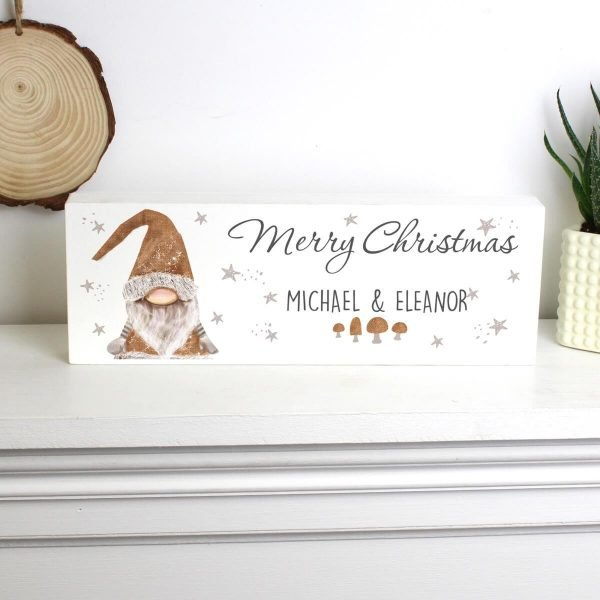 Personalised Scandinavian Christmas Gnome Wooden Block Sign