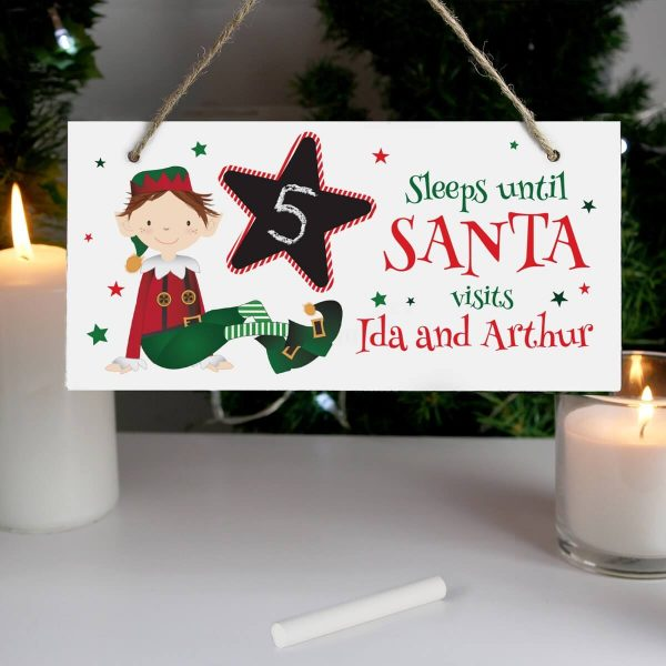 Personalised Elf Christmas Chalk Countdown Wooden Sign
