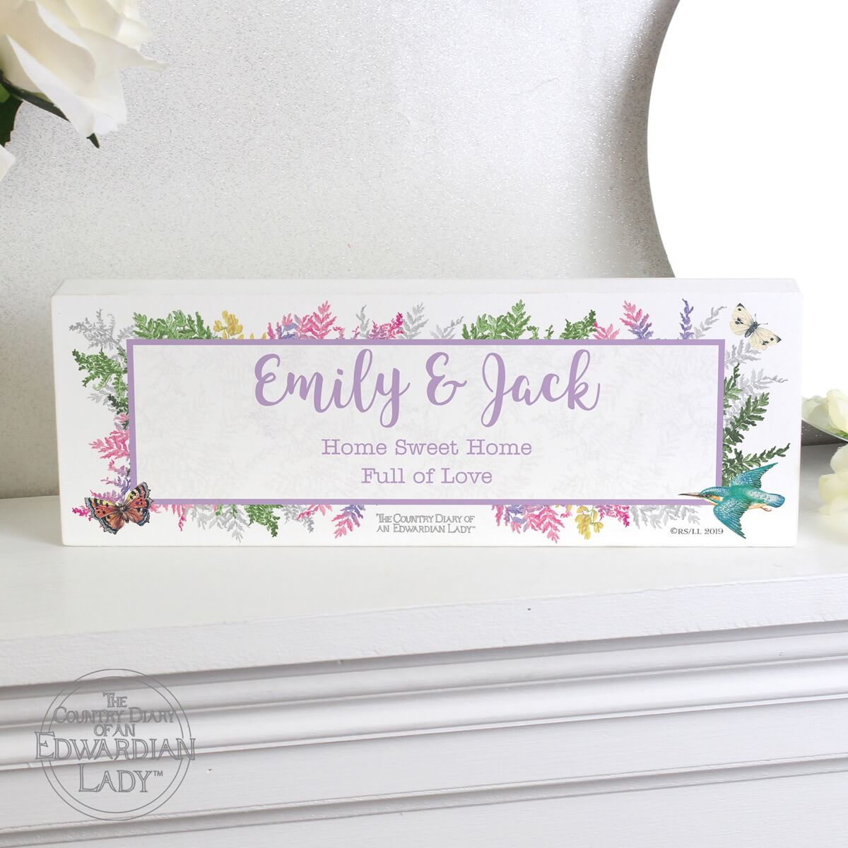 Personalised Country Diary Botanical Wooden Block Sign