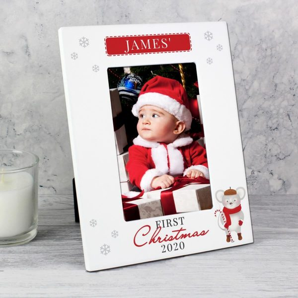 Personalised '1st Christmas' Mouse White 6×4 Photo Frame