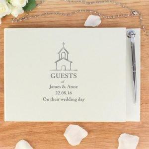 Personalised Church Design Hardback Guest Book & Pen