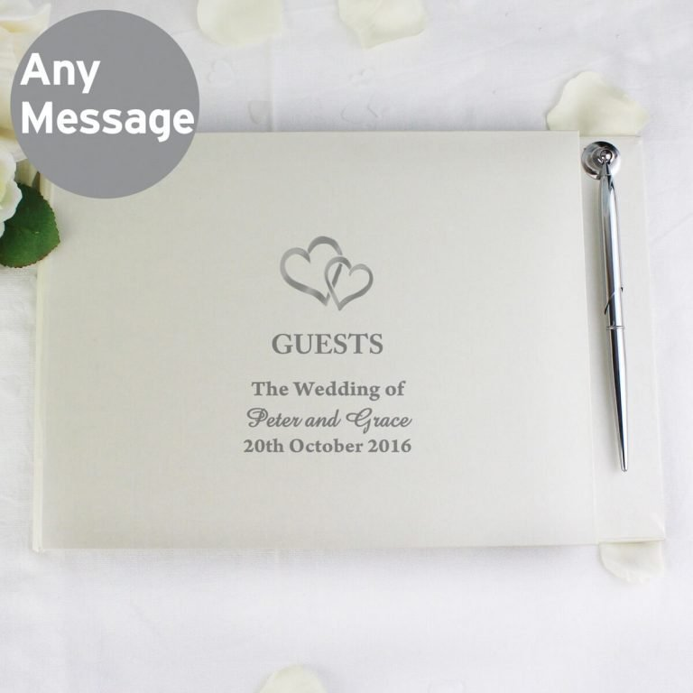 Personalised Hearts Design Hardback Guest Book & Pen