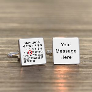 Personalised Cufflinks – Your Message & Date
