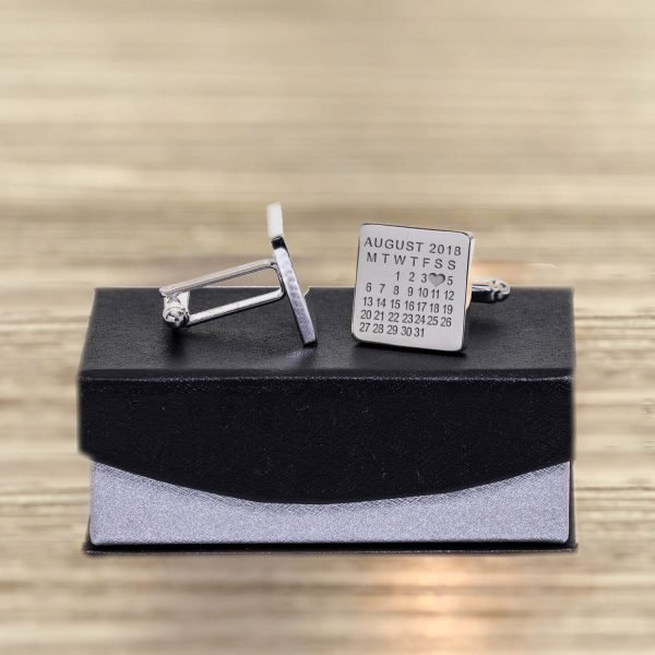 Personalised Cufflinks – Your Message & Date (Heart)