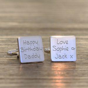 Personalised Cufflinks – Happy Birthday Daddy