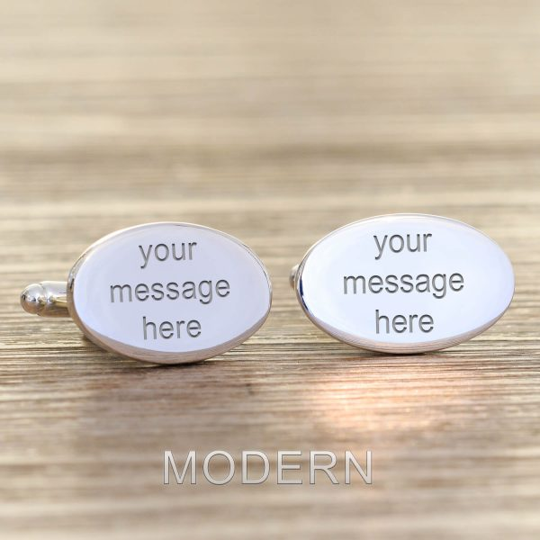 Personalised Cufflinks – Your Message (Oval)