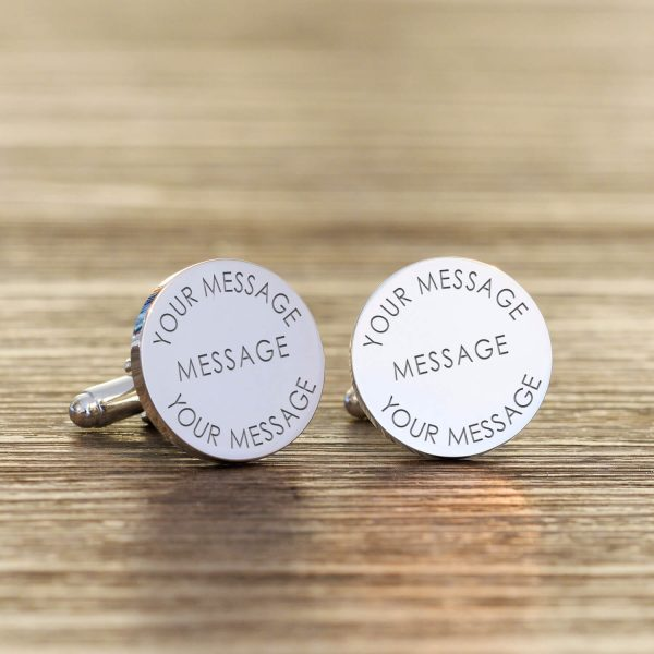 Personalised Cufflinks – Your Message (Round)