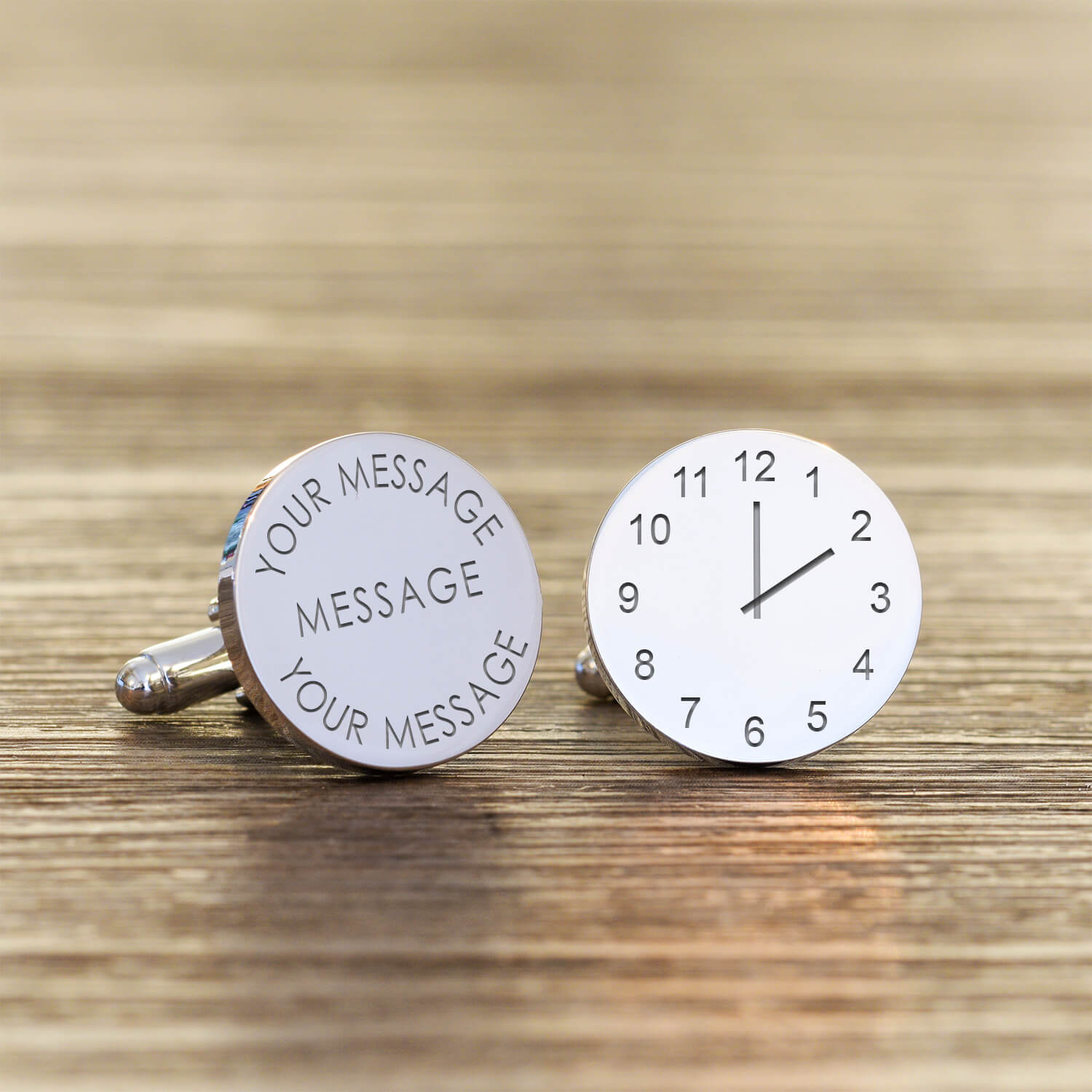 Personalised Cufflinks – Your Message & Time