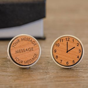 Personalised Cufflinks – Your Message & Time (Wooden)