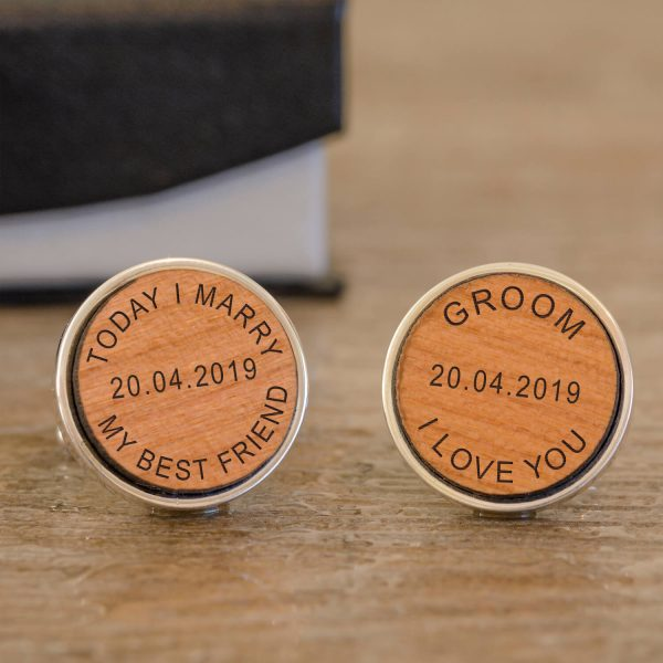 Personalised Cufflinks (Wood) – Today I Marry