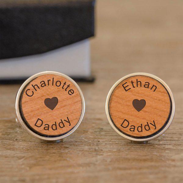 Personalised Cufflinks (Wood) – Daddy