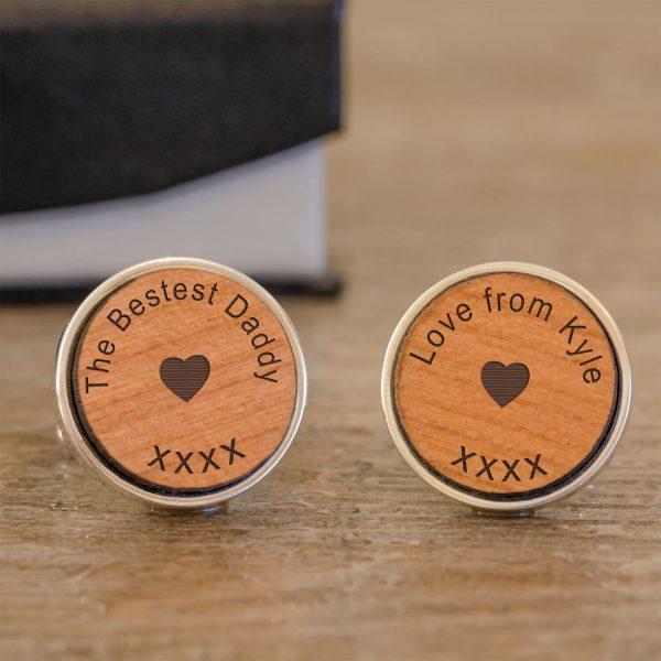 Personalised Cufflinks (Wood) – The Bestest Daddy!